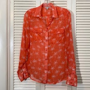 American Eagle Outfitters Sheer Palm Button-up